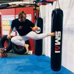 jumping back kick