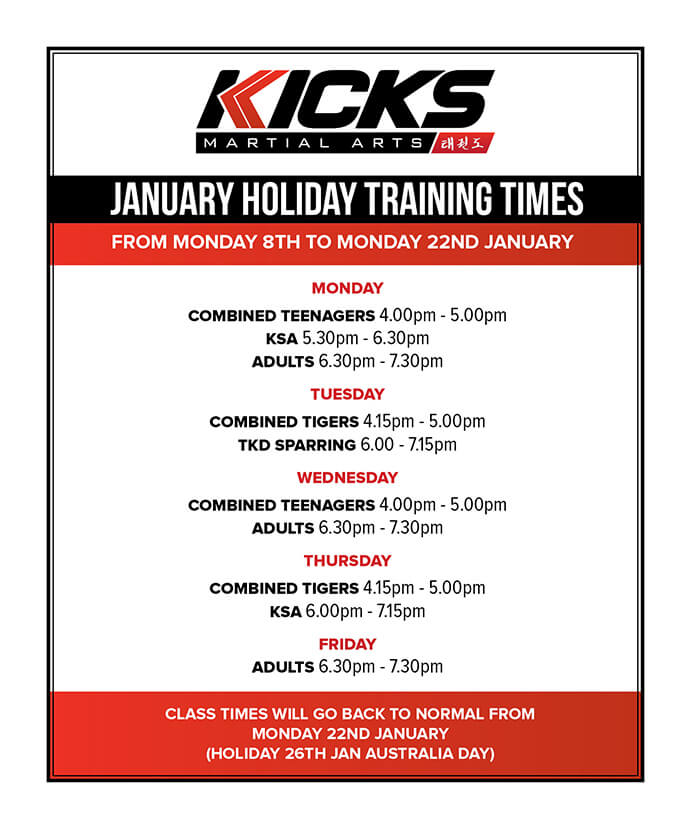 January Holiday Training Times