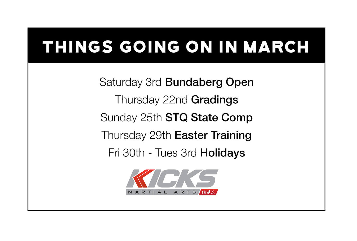 Things going on in March