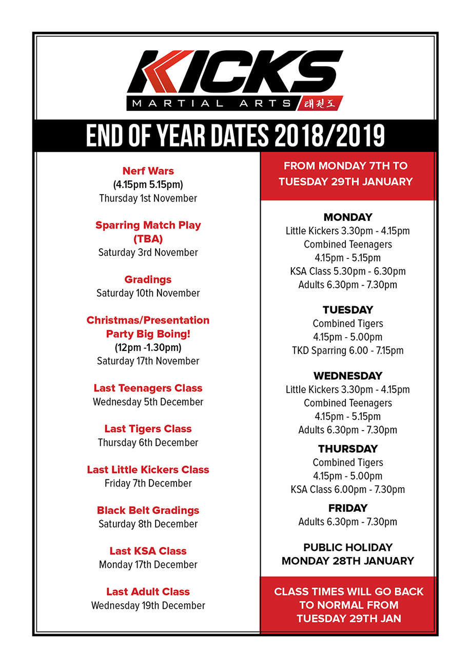 November to January dates to remember!